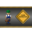 Wood worker cartoon under construction sign vector