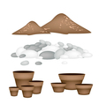 Terracotta flower pots with soil and pebble vector