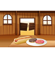 A saloon bar with foods in the table vector