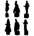 Collection of silhouettes of live statues of peopl vector