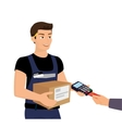 Delivery service and payment by credit card vector
