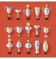 Icons set of bronze sport award cups vector
