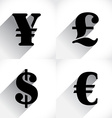 Euro dollar pound and yen vector