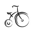 Antique highwheel bike black and white vector