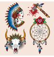 Tattoo indian set vector