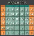 Calendar planner 2015 template week starts sunday vector