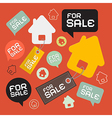 House for sale retro paper icons set vector