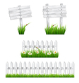 Set of white wooden signs and a fences with grass vector