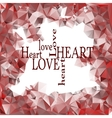 Red polygonal frame and words love and heart vector