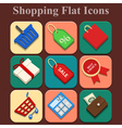 Shopping flat color icons set vector