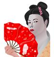 Japanese girl holding fan vector