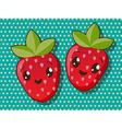 Kawaii strawberry icons vector