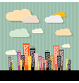 Colorful abstract buildings on paper retro vector