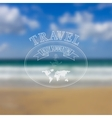 Travel label on blurred sea beach background vector