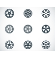 Black wheel disks icons set vector