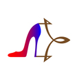 Women shoe with stylized arrow vector
