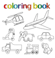 Set of various toys for coloring book vector
