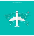 Plane icon world travel concept background flat vector