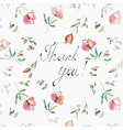 Thank you floral greeting card vector