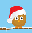 Funny animal with christmas hat color vector