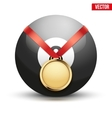 Sport gold medal with ribbon for winning pool vector