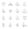 Bodybuilding fitness gym icons vector