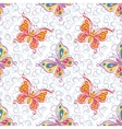 Seamless pattern outline colorful butterflies vector
