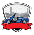 Racing car badge with city background vector