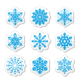Christmas or winter snowflakes icons vector