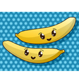Kawaii banana icons vector
