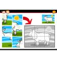 Cartoon goat jigsaw puzzle game vector