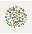Sticker mobile apps set in the form of circle vector