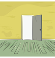 Exit door from room with old brick wall and wooden vector