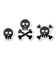 Cartoon skull with bones and hearts icon vector