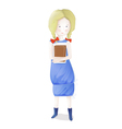 Young blond girl with books going to school vector