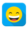 Laugh yellow smile flat app icon with long shadow vector