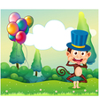 A monkey with balloons in the hilltop vector
