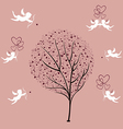 Tree of love and angels vector