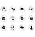 Stickers with wedding icons vector