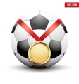 Sport gold medal with ribbon for winning football vector