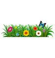 A butterfly in the garden with blooming flowers vector