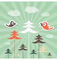 Retro paper forest and birds vector