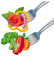 Fresh vegetable mix on fork vector