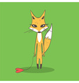 With funny cartoon fox and heart vector