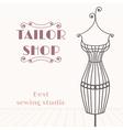 Vintage iron mannequin tailor shop background vector