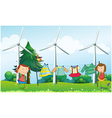 Two girls hanging their clothes near the windmills vector
