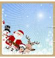 Santa claus reindeer snowman penguin vector