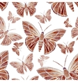 Watercolor butterfly red brown pattern vector