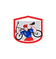 Cyclist carrying mountain bike on shoulders vector