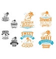 Summer vacation labels and banners vector